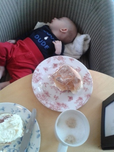 Mr Baby nods off during afternoon tea in the Victorian Winter Garden.