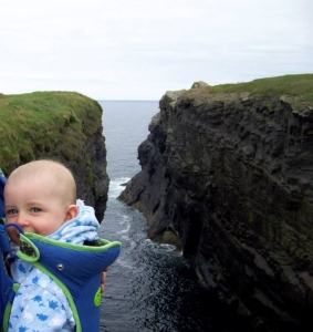 Mr Baby on a clifftop walk at Loophead