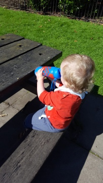 Mr Baby had a go but is perhaps too young for a squeezable bottle!