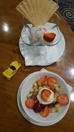 Fruit salad and ice-cream. With kid's toy for good measure...